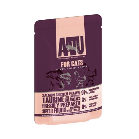 AATU – מזון רטוב לחתולים – סלמון, עוף וסרטנים 85 גרם